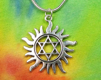 """Star of David / Magen David  in Sun Rays Pendant Necklace 16-24"""" 2mm Silver Chain Gift Boxed Ready To Ship Jewish Symbol Hebrew Judaism"""
