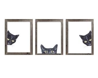 Set of 3 black cat peeking Painting Wall Poster Watercolor Art Colorful decor Print Pet Drawing portrait gig funny room nursery brown grey