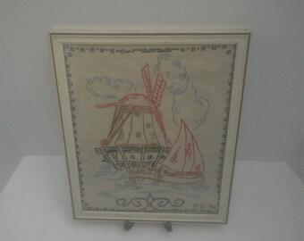 Vintage Antique Sampler Embroidered and Cross Stitch