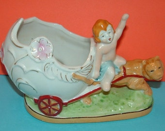 SALE Antique Porcelain Planter with Cherub riding Egg shaped Chariot