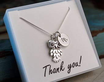 Teacher Necklace with Owl charm and initial - hand stamped Sterling silver initial
