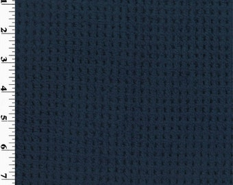 Double Sided Grid Shag Fleece Light/Dark Navy, Fabric By The Yard