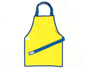 3-6 T yellow terry cloth Montessori apron boy/girl - The perfect gift! - The best plastified Montessori apron