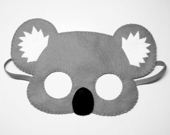 Koala bear felt mask - grey handmade Australia woodland animal for kids adults - soft dress up play accessory photo props Theatre roleplay