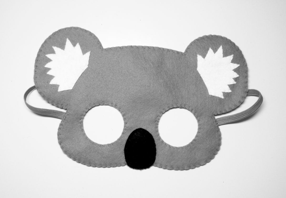 Koala bear felt mask grey handmade Australia woodland animal
