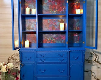 BoHo Kaleidoscope Bright Blue China Hutch