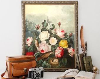 Vintage Botanical Print, Roses Print, Flower Botanical Print, Home Decor, Wall Art, Natural History Art, Floral Art Print Reproduction FP03