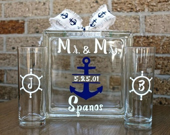 Unity Sand Ceremony Glass Containers - Glass Block with Nautical Anchor Ships Wheel Theme - Personalized - Side vessels with Initials