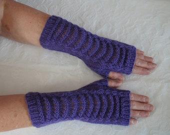 Beautiful lace fan pattern hand knitted fingerless gloves by Liz