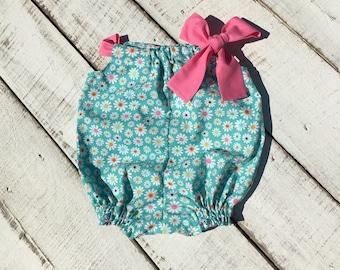 Vintage Flower Baby Romper, Baby Girl Sun Suit, Baby Bubble Romper