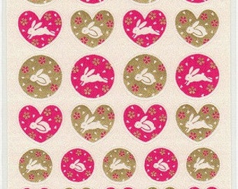Rabbit Stickers - Paper Stickers - Easter Stickers - Reference T2127H3275-76T4272