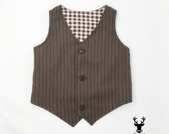 SAMPLE SALE Chocolate Brown Pinstripe Formal Boys Vest, Brown Toddler Boys Vest, Wedding Ring Bearer, Boys Rustic Wedding Vest, Boys Vest
