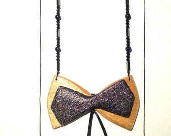 Handmade neckles with wooden bowtie, gold sandstone and hematite