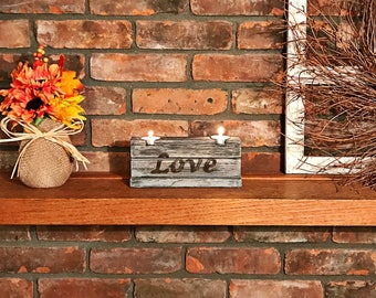 Weathered Candle Holder, Rustic Candle Holder, Double Tealight Candle Holder, Rustic Decor, Home & Living, Candles