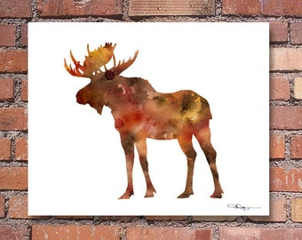Moose Art Print - Abstract Watercolor Painting - Wall Decor