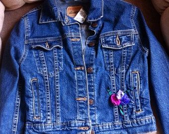 Levi Strauss Denim Jacket, Handmade Fabric Flowers Added, Girl's Size US 6x Jacket, Denim Jacket, Levi Strauss Signature Jean Jacket