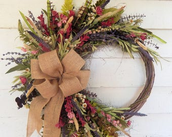 Rustic Front Door Wreath,Woodland Wreath,Year Round Wreath, Primitive Wreath, Spring Wreath, Summer Wreath