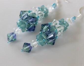 PDF tutorial beaded earrings_ 4mm 6mm 8mm Swarovski crystals_ Ocean_ easy pattern