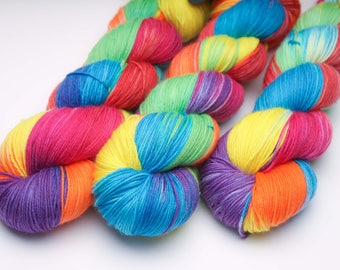 Ready to Ship -  'Summer Skittles' 100g sock weight / Hand dyed yarn / SW Merino / sock yarn / 4 ply / crochet / knitting
