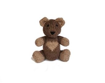 Carter the Hand Knit Bear, Stuffed Toy, cute Bear, Handmade, Stuffed Animal, baby gift, soft bear, bear plushie, bear softie, plush bear