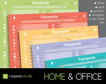 password planner, username planner, download and print, online security planner, internet password organiser, password security organiser
