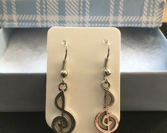 Music Notes Earrings - Silver Earrings - Dangle Earrings