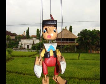 Pinocchio puppet hinged wood 20 cm toy kids gift