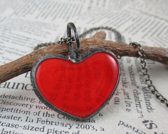 red heart necklace, fused glass necklace, metalwork, handmade