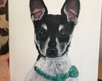 Custom Pet Portrait (Acrylic on Canvas) 30 x 40 cm (Small)