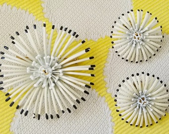 Vintage White and Black Spider Mum Enamel Flower Brooch Pin with matching Earrings