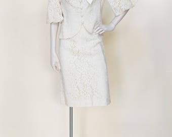 Vintage 1960s Cream Lace Wedding Suit