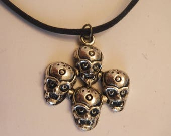 Monster Zombie Ghoul Gothic Pendant Necklace Satin Cord Adjustable Sliding Knot