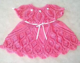 Crochet PATTERN: Petite Pineapples Baby-Dress-Heirloom-keepsake-frock size 10 crochet thread