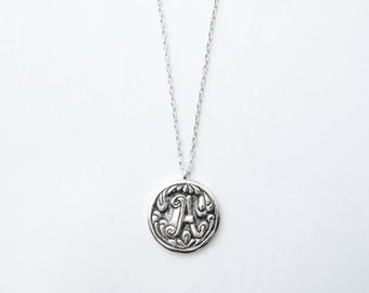 """Swirls Pattern """"New Baroque"""" Letter Initial Monogram Name pendant necklace - polished and oxidized sterling silver"""