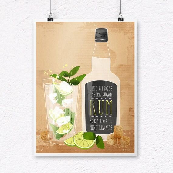 Mojito Print. Rum Print. Rum Gift. Drinks Print. Alcohol Gift.