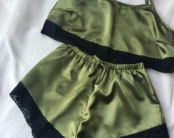Khaki Satin with Black Lace Pyjama Set