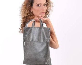 Women Handbag, Gray Vegan Bag, Fold Over Purse, Vegan Leather Bag, Shoulder Bag, Top Handle Bag, Vegan Gifts For Her