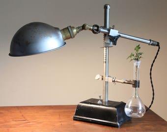 Steampunk lamp Industrial gift desk light elegant reclaimed unique steel parabolic shade science chemistry brass socket volumetric flask