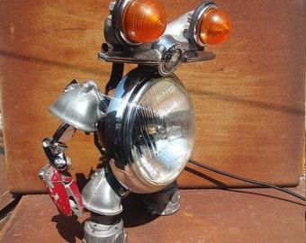 Morris robot light upcycle sculpture sci-fi atomic classic-mini automobile