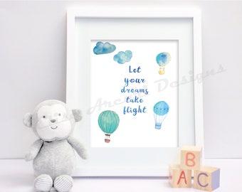 Let your dreams take flight Nursery Print Blue