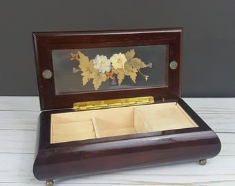 Vintage Musical Jewelry Box with Pressed Flowers in Glass