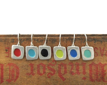 Enamel Earrings - Tiny Sterling Silver and Vitreous Enamel Dot Earrings in Six Colors