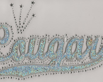 CLOSEOUT SALE Cougars Sequins and Rhinestone Transfer Applique ONLY