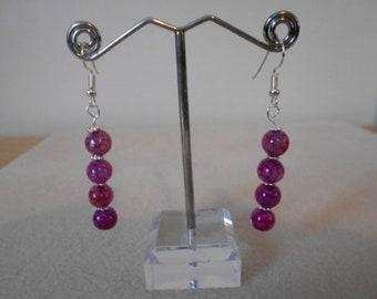 Handmade Tourmaline Gemstone Drop Earrings - pink
