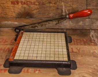 Vintage Chandler All Steel Trimmer Paper Cutter Photo Trimmer Industrial Photography Craft Trimming Board Wood Metal Black Red