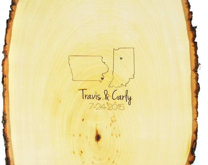 Tree Slice Guest Book with Custom Burned Monogram -States Design- and Date PEN INCLUDED