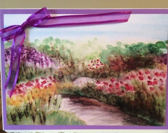 Springtime Meadow  watercolor print handmade card