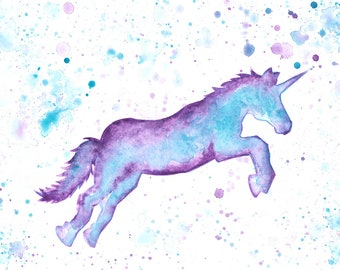 Watercolour Purple and Blue Unicorn Print (A4, A5 and Greetings Card)