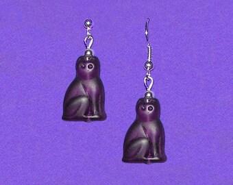 Czech Glass Translucent Amethyst Plum Purple Cat Bead Earrings