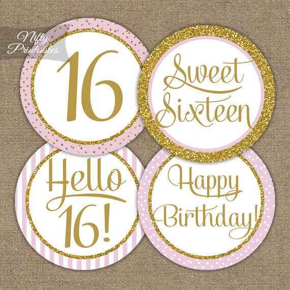 Sweet 16 Birthday Cupcake Toppers Sweet Sixteen Pink Gold